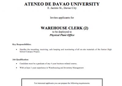 Warehouse Clerk