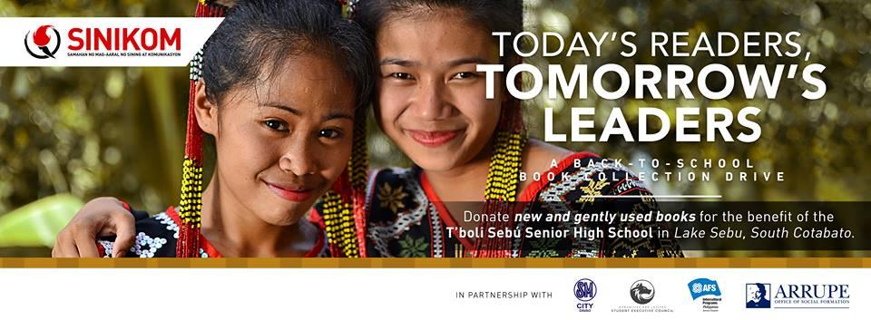 The Samahan ng Mga Mag-aaral ng Sining at Komunikasyon (SINIKOM) leads a book collection drive for the Tboli Sbù Senior High School.