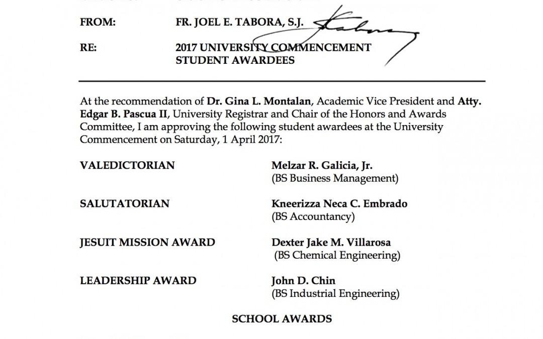 2017-019 Graduation Student Awardees Final