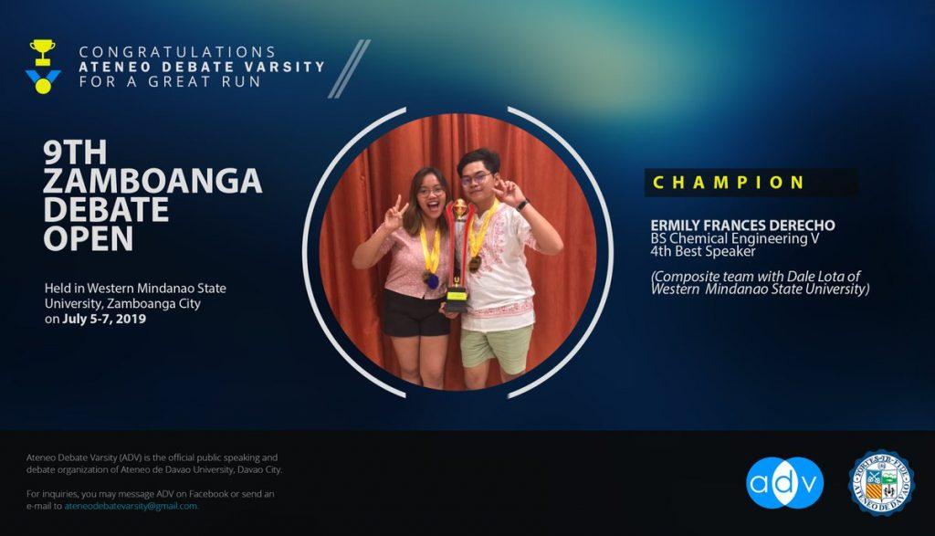 Ateneo de Davao Debater Bags Championship in 9th Zamboanga Debate Open